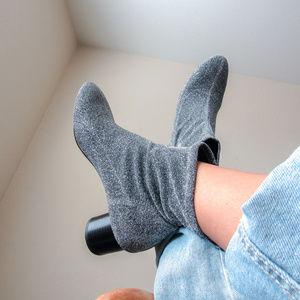 ZARA Metallic Silver Glitter Ankle Boots Booties